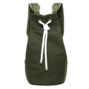 Wholesale Casual Men Canvas Backpack Large Capacity Barrel Backpack Army Green String Drawstring Daypack for Men Back Pack Backpacks