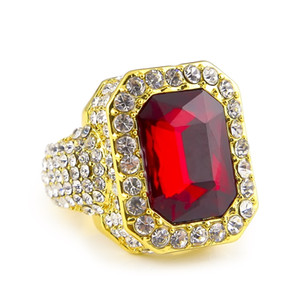 Mens Hip-hop Full Diamond Rings Micro Pave Crystal Big Red Black Green Blue Stone Square Gold Silver Color Ring