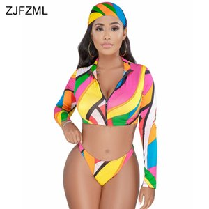 ZJFZML Colorful Print Sexy 3 Piece Set Women Head Scarf And Deep V Neck Full Sleeve Crop Jacket And Summer Beach e Short