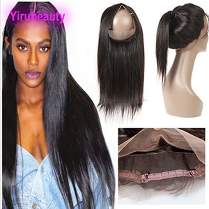 Wholesale hair extensions bands resale online - Brazilian Virgin Hair Lace Frontal Straight Hair Pre Plucked Lace Band Baby Hair Extensions Top Closures Natural Hairline
