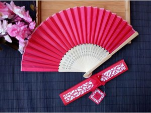 Wholesale DHL Personalized Luxurious Silk Fold hand Fan in Elegant Laser Cut Gift Box Party Favors wedding Gifts printing