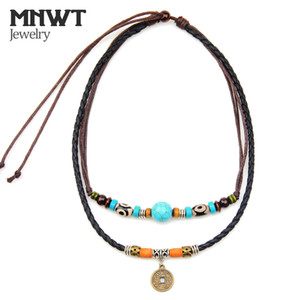 Wholesale MNWT Ancient Coin Pendant Necklace Multilayer Wood Beads Cross Necklace Bohemian Fashion Jewelry Genuine Leather Men Necklaces