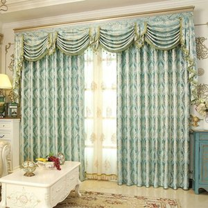 Wholesale Romantic Royal Luxury Window Curtains Bedroom Living Room Removable Elegant Drapes Curtain Encryption Golden Silk Jacquard Weave lg KK