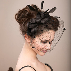 Wholesale Amandabridal Black Feather Wedding Hats For Brides Women Tulle Birdcage Veil Bridal Hats Headpieces Bridal Accessories