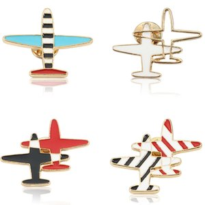 Wholesale Fashion Airplane Brooch Enamel Pin Cartoon Tiny Colorful Aircraft Air Plane Brooches Women Denim Jacket Pins Button Shirt Badge