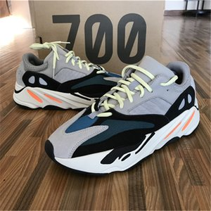 Wholesale desiner sneaker Kanye West Wave Runner Seankers Sports Running Shoes Men Women Solid Grey Chalk White Core Black Sport Shoes Size