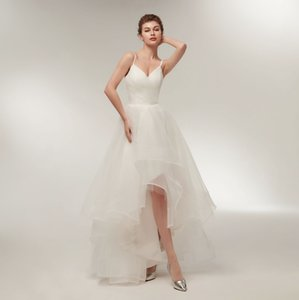 Elegant Summer Wedding Dresses With Straps Sexy V Neck Hi Lo Wedding Gown 2018 Bridal Dress Custom Made Tulle Dress on Sale