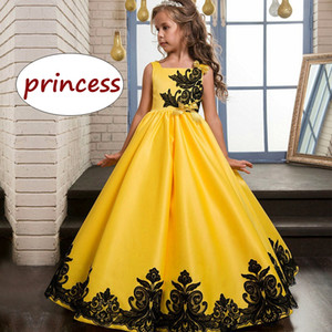 Wholesale Children Wedding Party Dress Kids Girl Yellow Evening Ball Gown Children Teenagers Formal Black Lace Dress