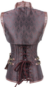 Wholesale Hot Women Steampunk Corset Sexy Punk Brown Black Faux Leather Floral Steel Boned Bustiers Lace Up Plus Size Waist Trainer