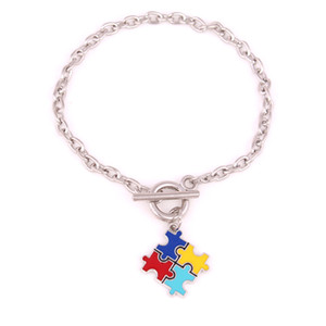 Wholesale puzzle pieces autism for sale - Group buy Aprivot Fu Wheat Link Chain Hope Multi Enamel Autism Awareness Puzzle Jigsaw Piece Charm Lobster Claw Bracelet