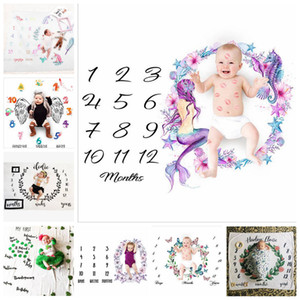 Newborn Baby Milestone Blankets Fashion Unicorn Mermaid Flower Wrap Blanket Photography Backdrops Prop Blanket Baby Quit 43 Styles YL390