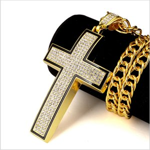 New Big Brilliant Cross 3D Hip Hop Iced Out Religious Pendant Franco Chain Gold Silver Plated For Men Women Jewelry Fashion Gift