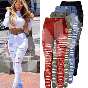 Wholesale Sexy Women Destroyed Ripped Denim Jeans Skinny Hole Pants High Waist Stretch Jeans Slim Pencil Trousers Black White Blue