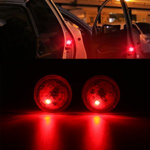 Wholesale 2pcs Wireless Car Door LED Warning Light Red Strobe Flashing LED Door Open Safety Flicker Anti Rear end Collision