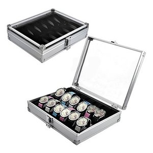 Wholesale Useful Grid Slots Jewelry Watches Aluminium Alloy Display Storage Box Case