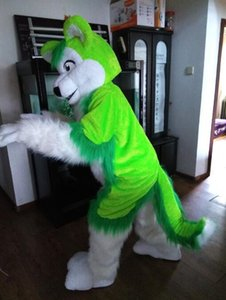 2018 Hot sale Green Wolf Mascot Costume Adult Size Cute Wolf Carnival Party Cosply Mascotte Suit Kit