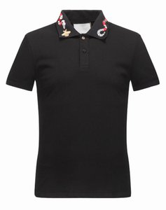 Wholesale NEW gg Summer Men Brand designer Polos Shirt Fashion Embroidery BEES Snake Polo Male Casual Short Sleeves Tops Turn down Collar Polo