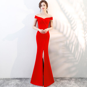 Wholesale Elegant V-Neck Satin Mermaid Evening Dress Long Split Cocktail Dress Party Gowns Sexy Off-Shoulder Dress Burgundy Red Black Zipper Back D25