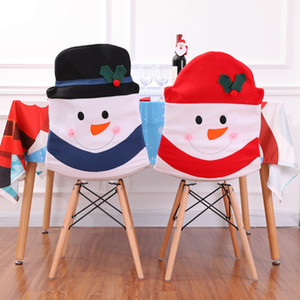 Wholesale Christmas Decoration Santa Claus Red Hat Chair Back Cover for Home Party Holiday Christmas Dinner Table Decor JLE115