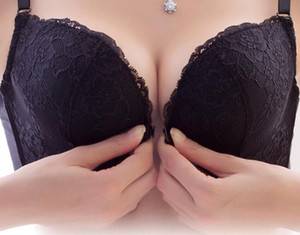 Lace front buckle no rims bra small chest bra female sexy underwear back together