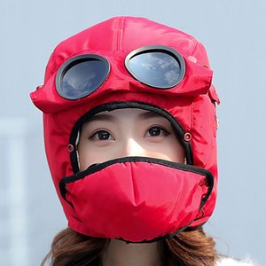 Bomber Hats Women Men Child Winter Windproof Ski Cap With Ear Flaps And Mask Pilot Goggles Warm Aviator Hats Trooper Trapper Cap on Sale