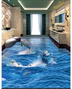Wholesale Wholesale-Custom Photo Floor Wallpaper Dolphins Out Of The Ocean 3D Bathroom Living Room Floor Tiles Self-adhesive Floor decor Painting