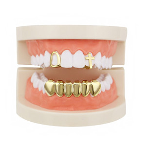 Wholesale gold braces resale online - Geometric Hollow Cross Dental Grills Set Hip hop Gold plated Copper Glossy Braces Accessories Punk Women Men Party Teeth Decoration Jewelry