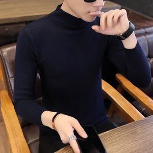 Men's solid color turtleneck sweater Korean autumn and winter clothes spirit guy trend bottoming sweater men's long sleeves Slim on Sale