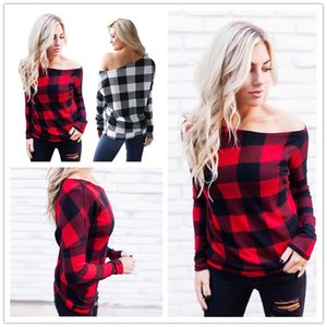 Women Off Shoulder Plaid Shirts Long Sleeve Slash Neck Lattice Sweatshirt Pullover Tops Blouse Casual Spring Autumn Clothes Tees Sale