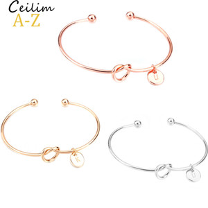 Wholesale bracelet bangles resale online - 26 Letter Rose Gold Silver Gold Love Knot Bracelet Bangle Girl will you be my bridesmaid Jewelry Personality Round Pendant Chain Bracelets