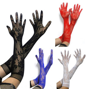 Ladies Five Finger Fishnet Gloves Lace Floral Jacquard Opera Length Mid Long Gloves Elastic Party Club Carnival Fancy Dress Accessories