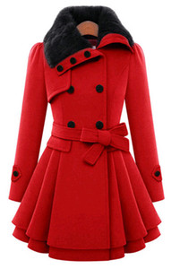 ladies woman wool blend double breasted coats casual winter autumn warm elegant a-line long sleeve long female coats