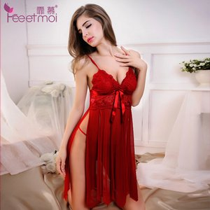 Lace Embroidery Red Baby Doll Sexy Lingerie Women Hot Sexy Solid V-Neck Transparent Erotic Lingerie Sexy Slit Sleepwear Pajamas D18110701