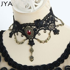Wholesale JYA Punk Necklace Wedding Party Black Lace Necklace Women Choker Wing Pendant Handmade Gothic Victorian Lolita Retro Cosplay