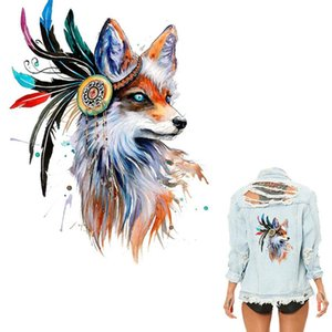 Wholesale Colorful Fox Heat Transfer Decorative Stickers Transfer Printing Offset Pyrograph Clothes Stickers Iron on Patches T shirt DIY