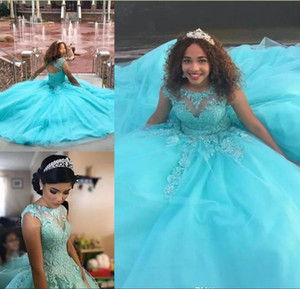 7393df002e6 Wholesale Blue Ball Gown Quinceanera Dresses 2018 Lace Appliques Beaded  Sweet 16 Long Prom Dresses Custom