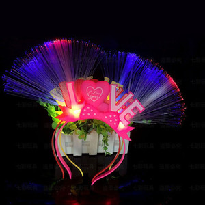 Woman Girls Light Headband Fiber Flashing Tentacle Antenna Love Blinking LED Glow Hoop New Year Party ZA5654