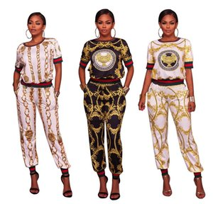 Wholesale 2018 European and American fashion style stitching Two piece large size Sexy digital printing short sleeved long pants suit