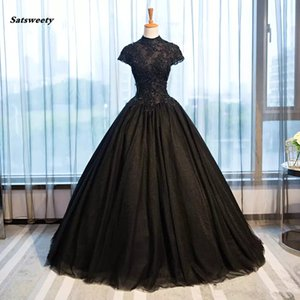 2018 Black Gothic Wedding Dresses High Collar Casamento Vintage Bridal Gowns Shiny Beaded Appliques Vestido De Novia on Sale