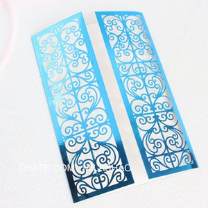 Wholesale Laser cut wedding invitations blue light reflecting weeding invite jacket provide customized printing multi colors