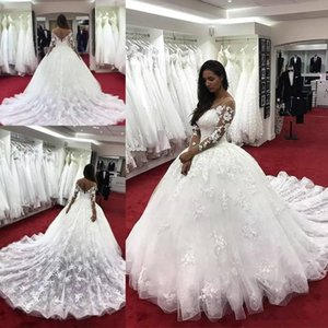 Wholesale dresses amazing backs for sale - Group buy Amazing Lace Ball Gown Wedding Dresses With Long Sleeves Sheer Bateau Neck Hollow Back Bridal Dress Appliqued Chapel Wedding Gowns