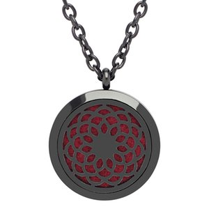 With chain as gift! New black magnetic aromatherapy diffuser locket necklace 316L stainless steel perfume locket necklace wholesale