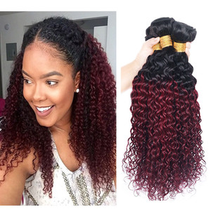 Kinky Curly Human Hair Bundles Ombre 1B 99J Hair Extension Brazilian Virgin Two Tone #1B 99J Dark Red Remy Hair Weaves 10-26 Inch