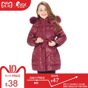 Wholesale BUY COAT GET FREE SCARF degrees SP SHOW Winter White down long coat nature fur hat New children s clothing girls