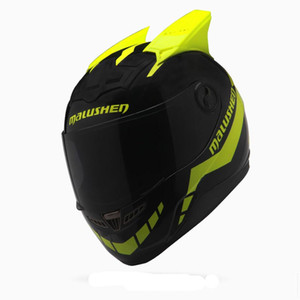 Wholesale Brand Malushen Full face motorcycle helmet Men and women cool helmet personality design Anti fogging visor with horns