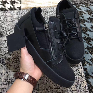Wholesale italian low sneakers resale online - Fashion Italian quality brand Genuine Leather With Double Gold Zipper Men Women sneakers With Box Low Top Thick Soles casual Flat shoes