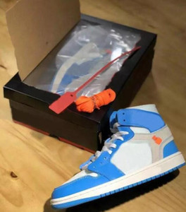 High Quality 1s Powder Blue UNC White Blue Men Women Basketball Shoes 1 White Grey Chicago Red Black Sneakers New With Box