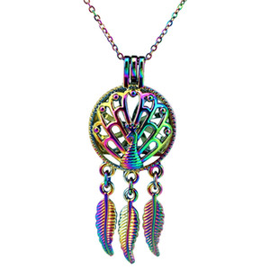 Wholesale green peacock pearls resale online - C728 Rainbow Color Dream Catcher Peacock Leaf Beads Cage Pendant Essential Oil Diffuser Aromatherapy Pearl Cage Locket Pendant Necklace