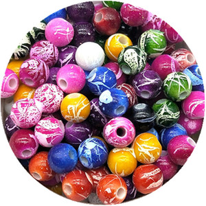 Wholesale 6 mm DIY Handmade Round Acrylic Beads For Necklace Bracelet Charms Jewelry Color Random Delivery