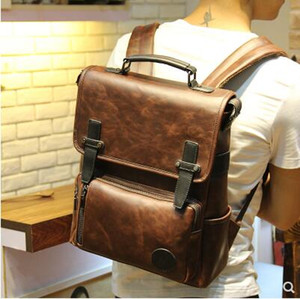 2018 New bag hot sale brand high quality men PU Leather backpack male vintage leather bag school bag man travel backpack fashion bags
